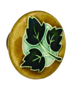 Large Round Tan with 3 Green Leaves Ceramic Cabinet Pull