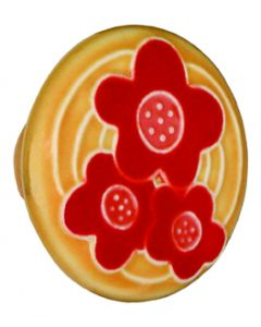 Large Round Gold with 3 Red Flowers Ceramic Cabinet Pull