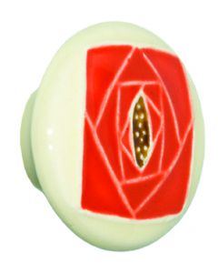Large Round Off-White with Square Orange Rose Ceramic Cabinet Pull