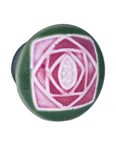 Small Round Green with Square Mauve Rose Ceramic Cabinet Pull