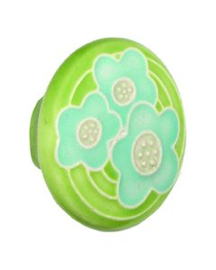 Large Round Light Green with 3 Blue Flowers Ceramic Cabinet Pull