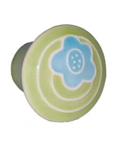 Small Round Light Green with Blue Flower Ceramic Cabinet Pull