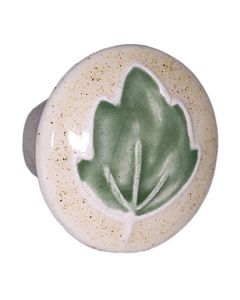 Small Round Tan with Green Leaf Ceramic Cabinet Pull