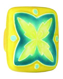 """Large Square Yellow Teal"""" X"""" Design Ceramic Cabinet Pull"""