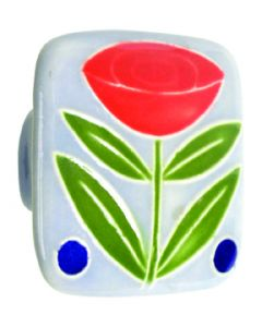 Large Square Light Blue with Flower & 2 Berries Ceramic Cabinet Pull