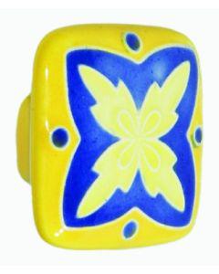 "Large Square Yellow Blue"" X"" Design Ceramic Cabinet Pull"