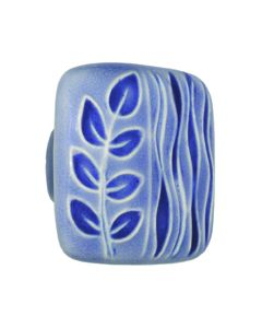 Large Square Light Blue with Blue Sea Grass Ceramic Cabinet Pull