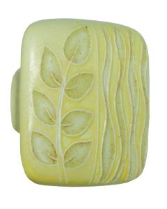 Large Square Yellow with Gold Sea Grass Ceramic Cabinet Pull