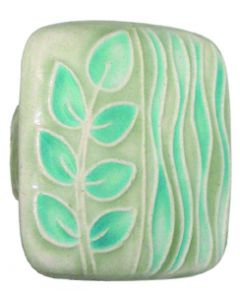 Large Square Light Green with Teal Sea Grass Ceramic Cabinet Pull