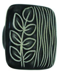 Large Square Black with White Sea Grass Ceramic Cabinet Pull