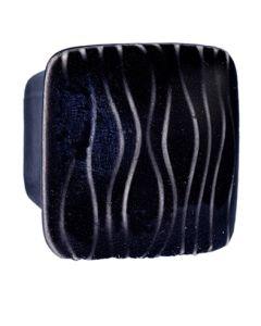 Small Square Black with White Sea Grass Ceramic Cabinet Pull