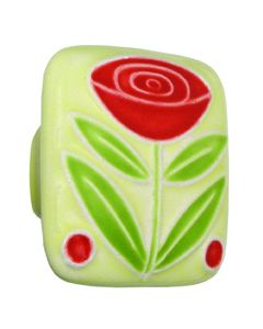 Large Square Yellow with Flower & 2 Berries Ceramic Cabinet Pull