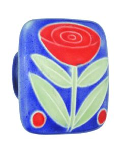 Large Square Dark Blue with Flower & 2 Berries Ceramic Cabinet Pull