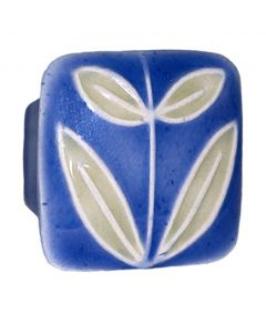 Small Square Dark Blue with Leaves Ceramic Cabinet Pull