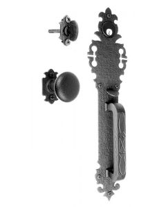 Large Handle with Warwick Backplate and Knob Mortise Lock Set